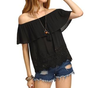 Tops - Off The Shoulder Ruffle Hem Blouse Top